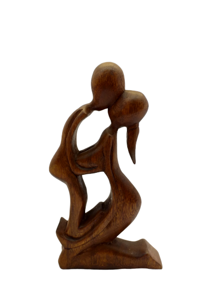 Figurine Abstract couple in love wooden