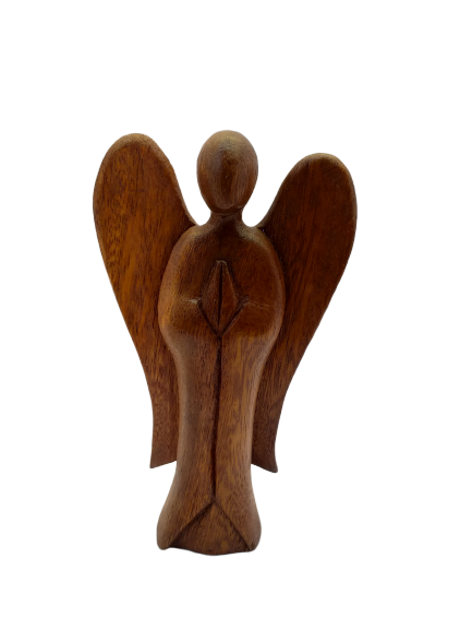 Figurine abstraction wooden angel praying