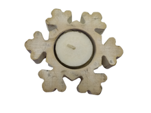 Load image into Gallery viewer, Christmas candlestick wooden snowflake