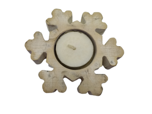Christmas candlestick wooden snowflake
