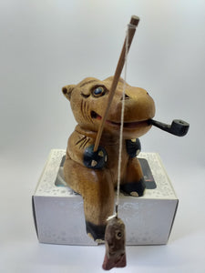 Figurine wooden hippopotamus  fisherman