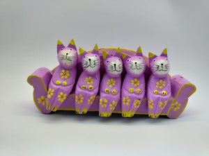 Wooden figurine five cats on sofa