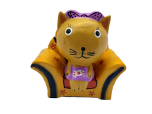 Load image into Gallery viewer, Wooden cat figurine in a chair