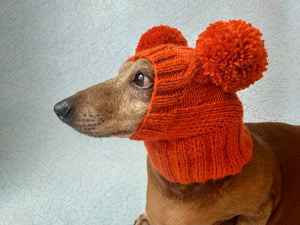Orange hat for dog with two pompons, hat for dachshund with two pompons