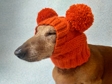 Load image into Gallery viewer, Orange hat for dog with two pompons, hat for dachshund with two pompons