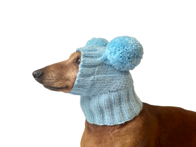 Blue hat for dog with two pompons, hat for dachshund with two pompons