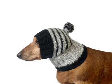 Striped black with gray hat for dog with pompom