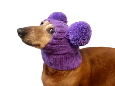 Hat for dog with two pompons, hat for dachshund with two pompons
