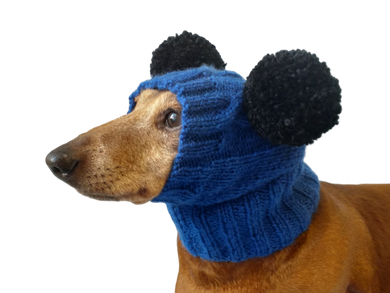 Clothing for miniature dachshund or small dog hat with two pompons
