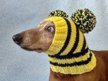 Load image into Gallery viewer, Bee knitted hat for dachshund with two pompons