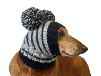 Striped knitted hat for dachshund or small dog.