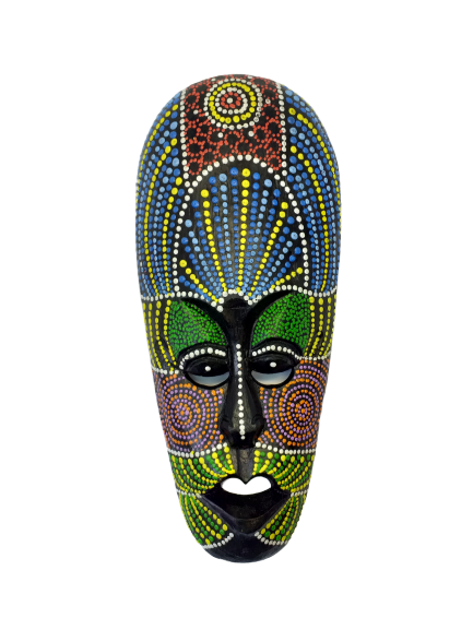 Wooden mask wall decor