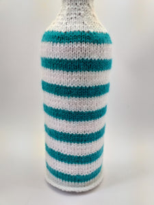 Knitted striped sweater for a bottle of wine