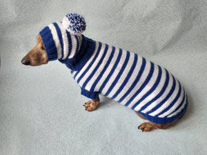 Costume for miniature dachshund sweater and hat, Doxie sweater and hat set, clothes for small dog of dachshund