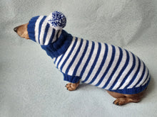 Load image into Gallery viewer, Costume for miniature dachshund sweater and hat, Doxie sweater and hat set, clothes for small dog of dachshund