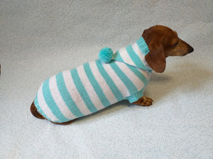 Knitted dachshund sweater with striped hood and pompom, hoodie for dachshund