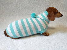 Load image into Gallery viewer, Knitted dachshund sweater with striped hood and pompom, hoodie for dachshund