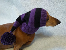 Load image into Gallery viewer, Wiener Knitted Elf Hat with Pompom, hat elf for dachshund