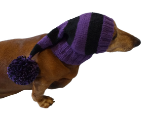 Wiener Knitted Elf Hat with Pompom, hat elf for dachshund