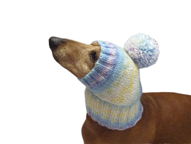 Knitted hat with pompom for dog, hat for dachshund