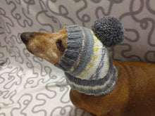 Load image into Gallery viewer, Knitted hat with pompom for dog, hat for dachshund
