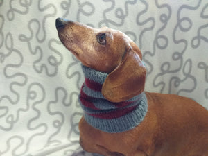 Dachshund snood handmade stripes, scarf snood hat for dogs