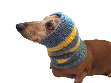 Knitted dog snood handmade stripes, scarf snood hat for dogs