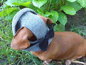 Summer hat Panama for the dog gray with black bow, summer clothes for pets