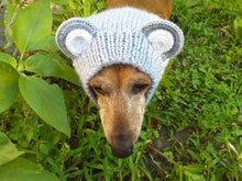 Load image into Gallery viewer, Dachshund gray bear hat snood, dog clothes hat snood bear
