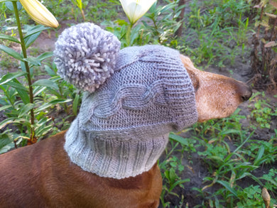 Winter gray hat with big pompom for small dog, hat for dachshund with pompom