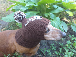 Christmas knitted hat with deer for dachshund dog and cat