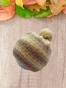 Knitted winter hat with pom pom for women, knitted hat for teenager with pom pom