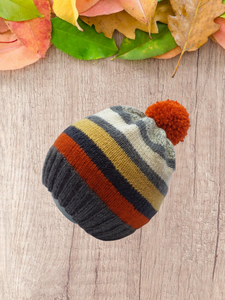Womens Knitted Winter Striped Pompom Hat, Knitted Teenager Hat with Pompom