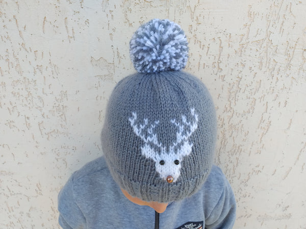 Christmas hat with deer, womens hat with a deer and pompom, Christmas teenager hat with deer