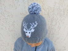 Load image into Gallery viewer, Christmas hat with deer, womens hat with a deer and pompom, Christmas teenager hat with deer