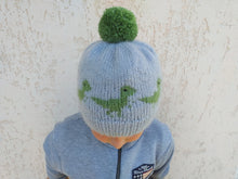 Load image into Gallery viewer, Knitted dinosaur hat one size fits all, halloween womens dinosaur hat