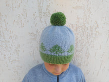 Load image into Gallery viewer, Christmas hat with trees knitted universal size, christmas women hat