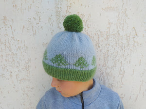 Christmas hat with trees knitted universal size, christmas women hat