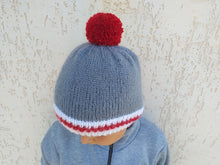 Load image into Gallery viewer, Gray knitted women's hat with pompom