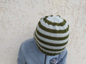 Women knitted striped hat, knitted hat for teenager
