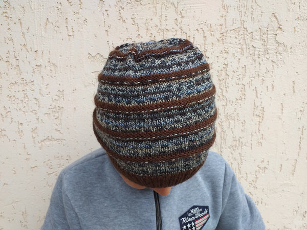 Womens Knitted Brown Beanie Hat, Teenager Knitted Hat