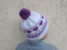 Load image into Gallery viewer, Hat with hearts for handmade woman, Valentine's day hat for woman
