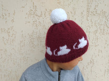 Load image into Gallery viewer, Handmade knitted hat with cats with pompom, hat cat with pompom