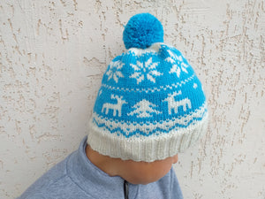 Christmas Women hat with deers and snowflakes, christmas knitted hat for teenager with pom pom