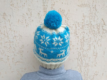 Load image into Gallery viewer, Christmas Women hat with deers and snowflakes, christmas knitted hat for teenager with pom pom