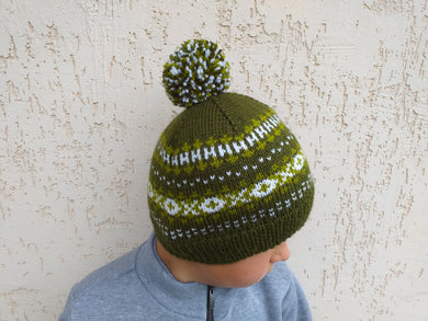 Womens Knitted Green Winter Hat with Pompom, Teenager Knitted Hat with Pompom