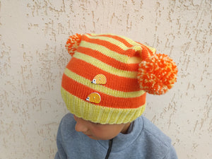 Women's Autumn Knitted Hat with Two Pom Poms, Teenage Knitted Hat with Pompoms