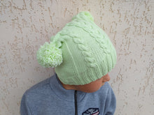 Load image into Gallery viewer, Women's knitted hat with two pom poms, knitted hat for teenager with pom poms