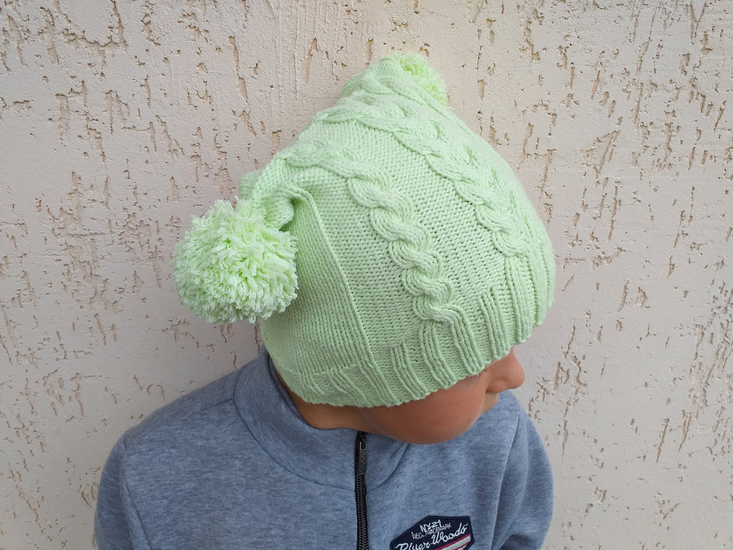Women's knitted hat with two pom poms, knitted hat for teenager with pom poms