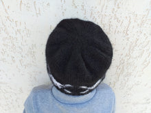Load image into Gallery viewer, Halloween skull beanie hat with bones knitted for woman or teen